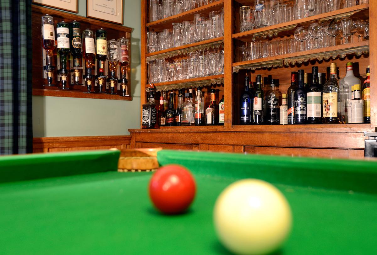 Billiards room and honesty bar