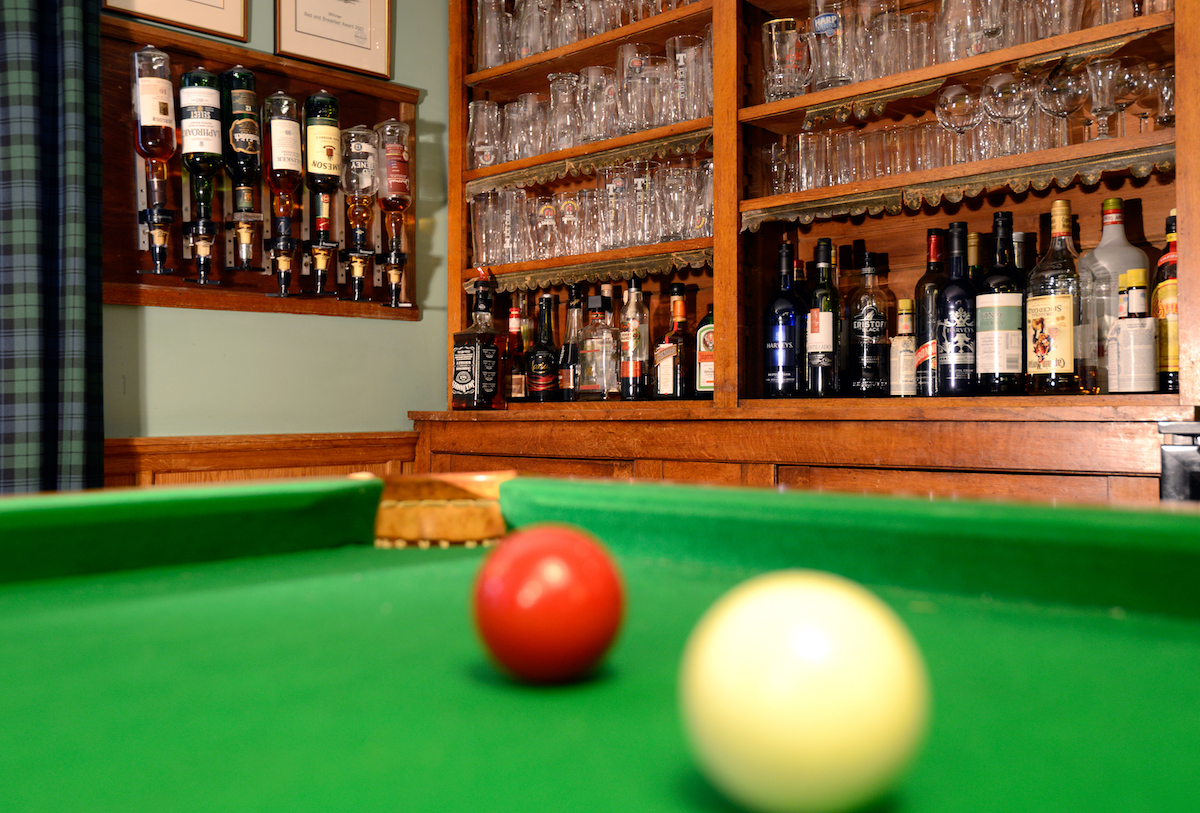 Billiards room and honesty bar
